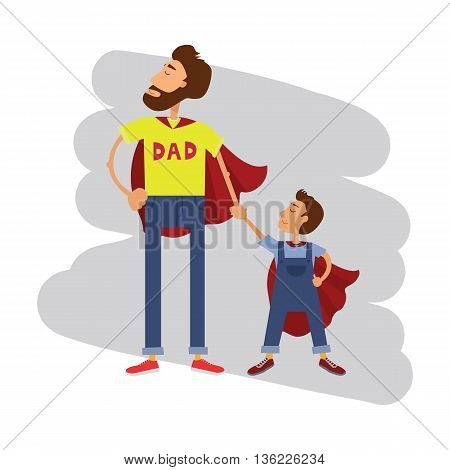Super hero dad and son. Father and son family team.