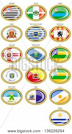 Flags Of The Brazilian States And Cities.