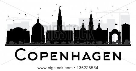 Copenhagen City skyline black and white silhouette. Vector illustration. Simple flat concept for tourism presentation, banner, placard or web site. Business travel concept. Cityscape with landmarks