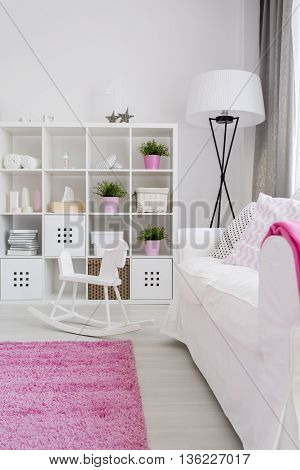 Restful Little Girl's Room In White And Pink