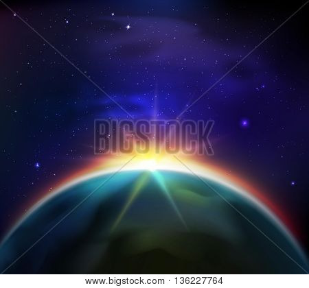 Sunrise in starry dark sky view from space background vector illustration