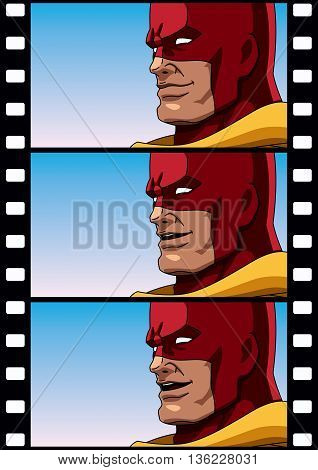 3 frames of superhero talking. You can use them to animate the hero or use each frame as separate illustration.