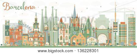 Abstract Barcelona Skyline with Color Buildings. Vector Illustration. Business Travel and Tourism Concept with Historic Buildings. Image for Presentation Banner Placard and Web Site.