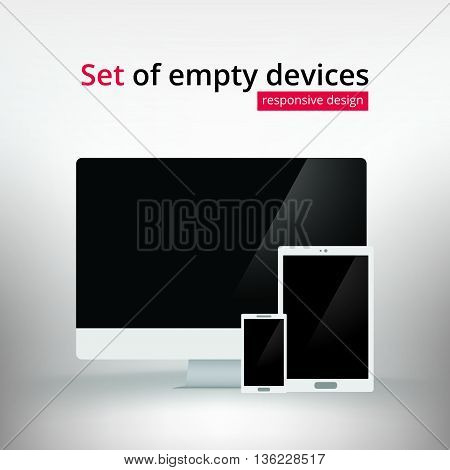 Set of business personal computer smart phone mobile tablet mockups. Blank desktop PC with empty screen template for design. Responsive Illustration Vector Isolated High Quality