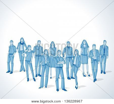 Group of blue business people. Sketch silhouette.
