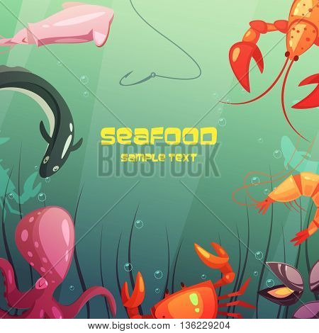 Color cartoon illustration depicting fishing hook in sea and sea inhabitans vector illustration
