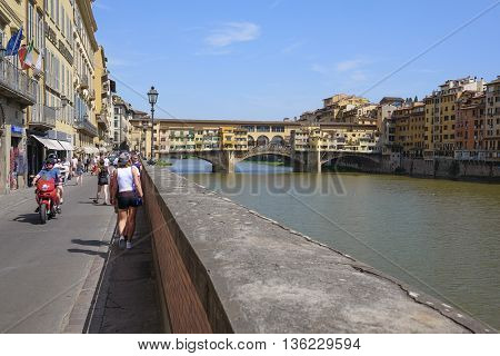 Florence, Italy, June, 25, 2016:  embankment of Amo river in Florence, Italy