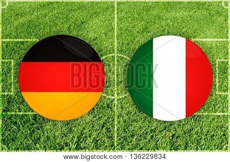 Germany vs Italy icons at football field background