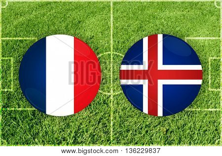 France vs Iceland icons at football field background