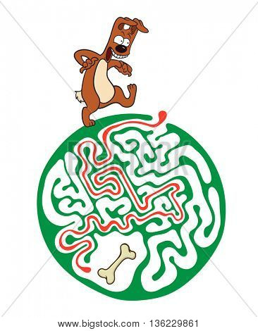 Maze puzzle for kids with dog and bone. Labyrinth illustration, solution included.