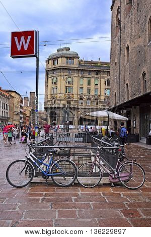 Bologna, Italy - June, 18, 2016: bycicles on a parking in Bologna, Italy