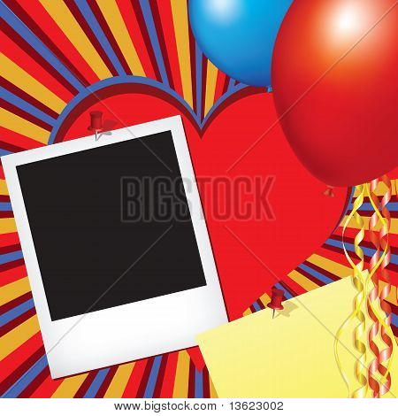 Fotorahmen und Notizbuch mit Party Dekorationen