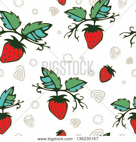 stock vector seamless pattern with strawberry. summer desing
