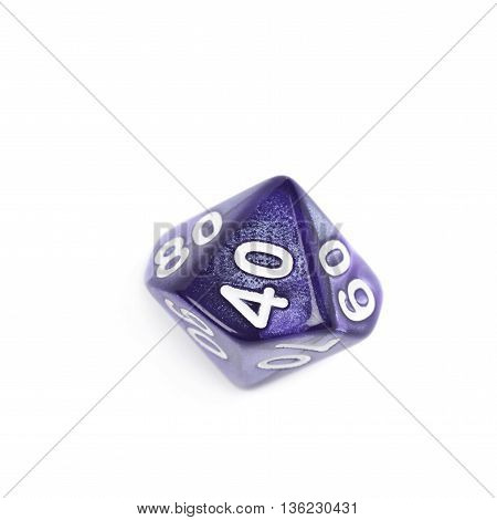 Violet roleplaying polyhedral heptagonal trapezohedron gaming plastic dice isolated over the white background