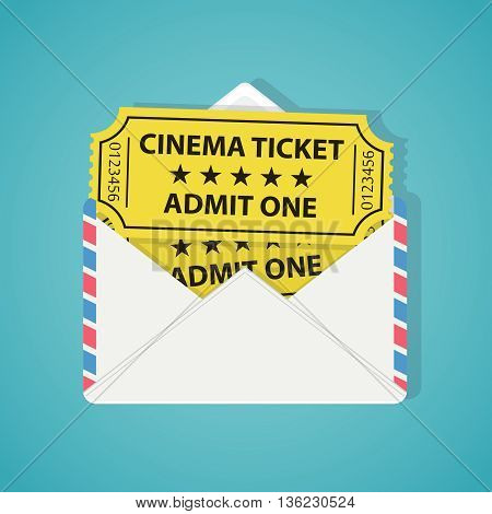 White envelope with two vintage cinema tickets on the blue background.