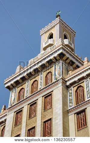 HAVANA - CUBA JUNE 19, 2016: The Bacardi Building (Edificio Bacardi) is an Art Deco landmark in Havana, Cuba. After the departure of Bacardi from Cuba, the building continued to be used for offices.