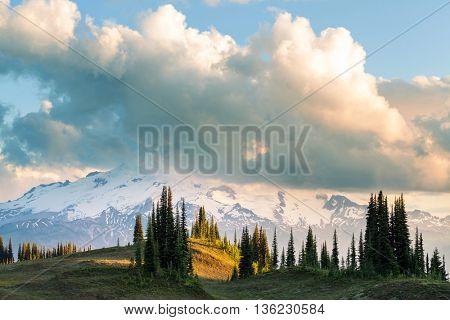 Glacier peak at sunrise, Washington, USA. Instagram filter.