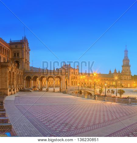 View of Spain Square on sunset, landmark in Renaissance Revival style, Seville, Andalusia, Spain