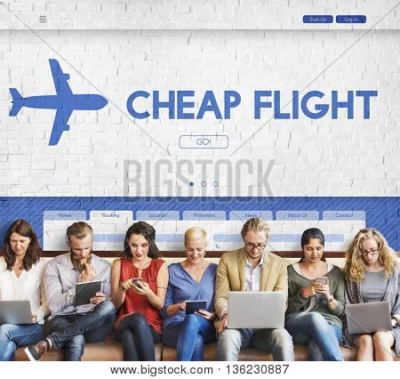 Cheap Flight Offer Traveling Website Concept