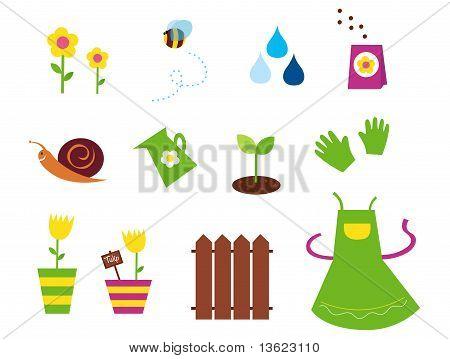 Primavera, jardim & agricultura símbolos e elementos - verdes, amarelos e rosa