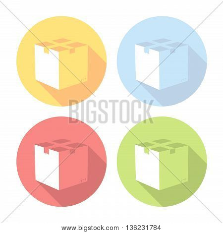 Delivery Box Flat Icons Set