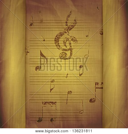 Vector illustration of a music background with old sheet music note signs and key with breaks.