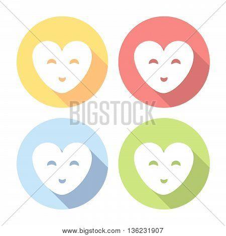 Smiling Happy Heart Flat Icons Set