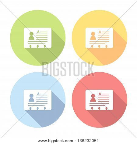 Personal Id Card Flat Icons Set