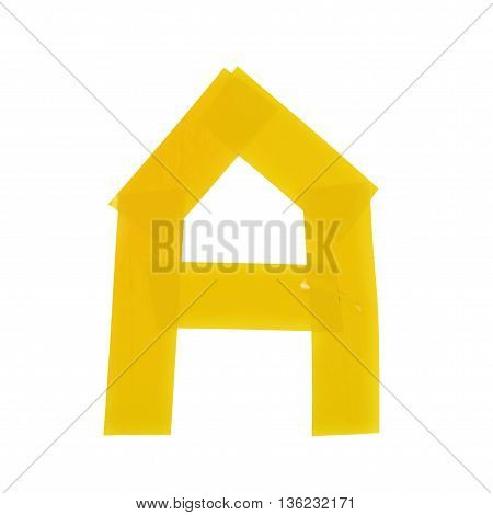 Letter symbol made of insulating tape pieces, isolated over the white background