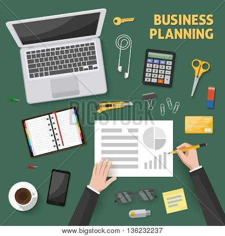 Desktop top view composition with computer coffee hands of worker document organizer on green background vector illustration