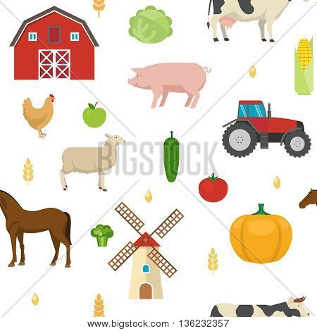 Agriculture seamless pattern with grains fruit vegetables barn windmill tractor farm animals on white background vector illustration