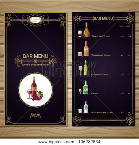 Bar menu template of black color with golden embellishments alcoholic drinks on wooden background vector illustration
