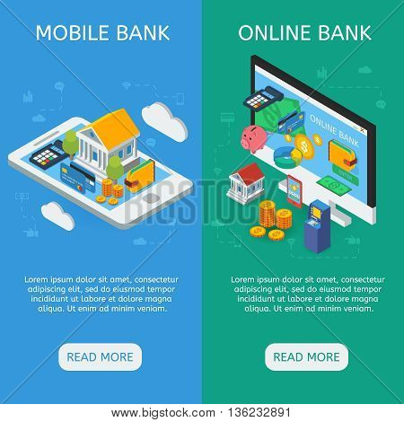 Internet banking isometric vertical banners with mobile service and online financial operation isolated vector illustration