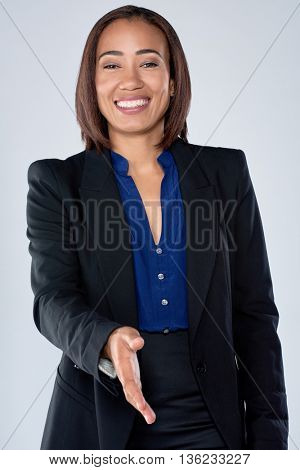 Confident business woman extending hand for handshake, partnership collaboration cooperation contract success concept