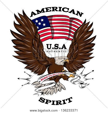 Spirit of USA emblem with american flag white brown flying eagle with ribbon in talons vector illustration