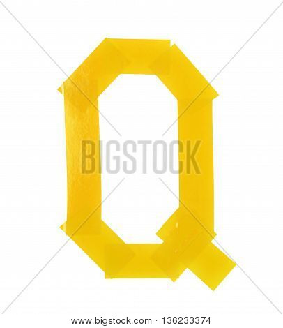 Letter Q symbol made of insulating tape pieces, isolated over the white background