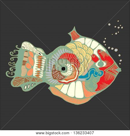 single isolated abstract art fish. stock vector illustration. cartoon design