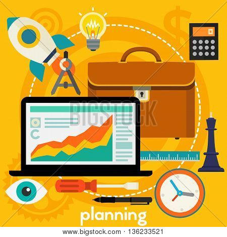 Business Planning concept banner. Square composition, vector illustration