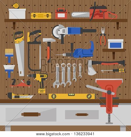 Work tools wall composition with colored tools for repair on wooden wall vector illustration