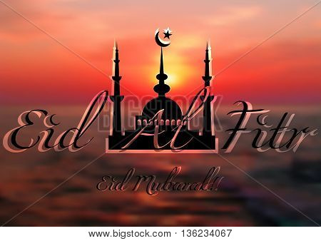 Card with mosque on sea sunset for greeting with finish of fasting month Ramadan and Islamic holiday Eid al-Fitr as well Feast of Breaking the Fast. Vector illustration