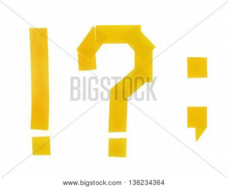 Set of punctuation marks, such as exclamation and question mark, period, comma made of insulating tape pieces, composition isolated over the white background