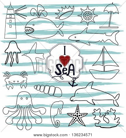 contour marine icons with sea creatures and the ocean and next to the inscription by hand I love the sea