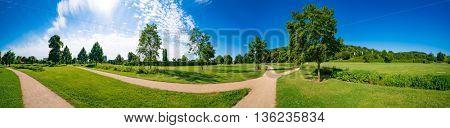Panorama of green summer park