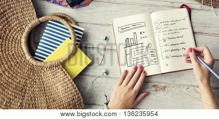 Lady Planning Journal Summer Holiday Concept