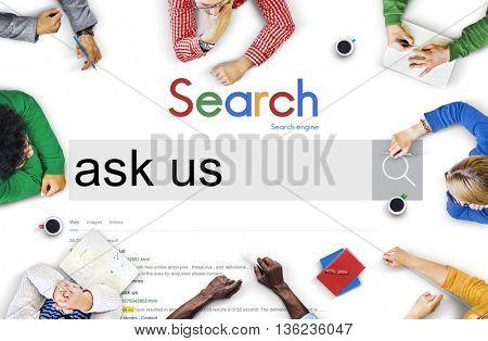 Ask Us Feedback Contact Questions Concept