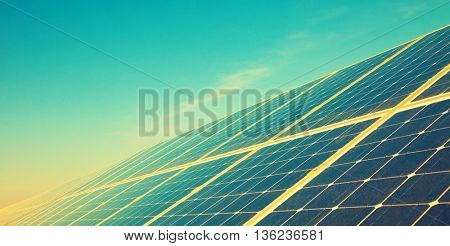 Solar cell panel. Toned image