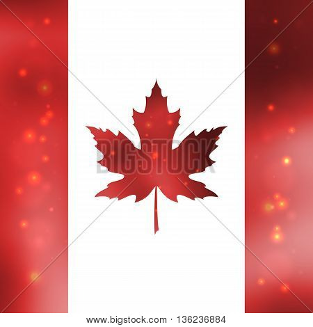 Red silk leaves in shape of Canadian. Flag on white background. Vector illustration.