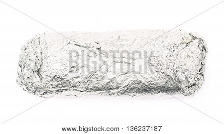 Sub sandwich wrapped in silver metal foil isolated over the white background