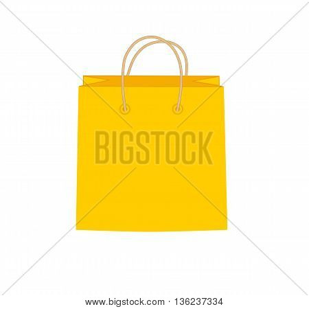 Orange shopping bag - modern vector illustration.