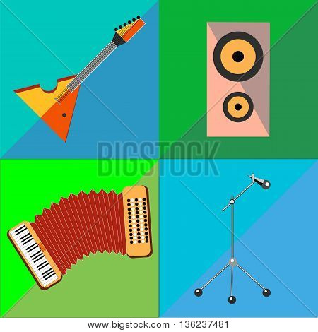 Set icons on musical instruments two-tone background in the style of flat